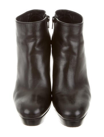 Leather Round-Toe Booties