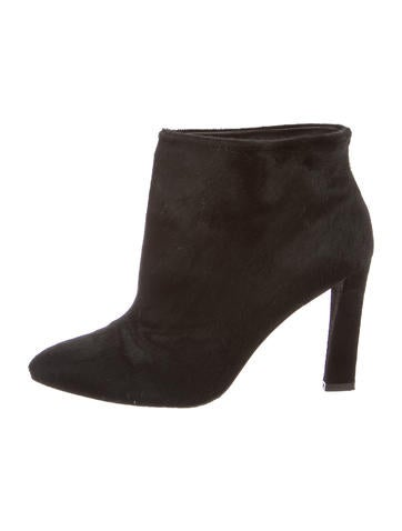 Pointed-Toe Ponyhair Booties