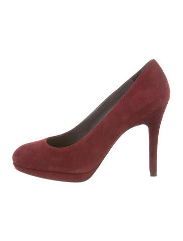 Stuart Weitzman Round-Toe Suede Pumps None