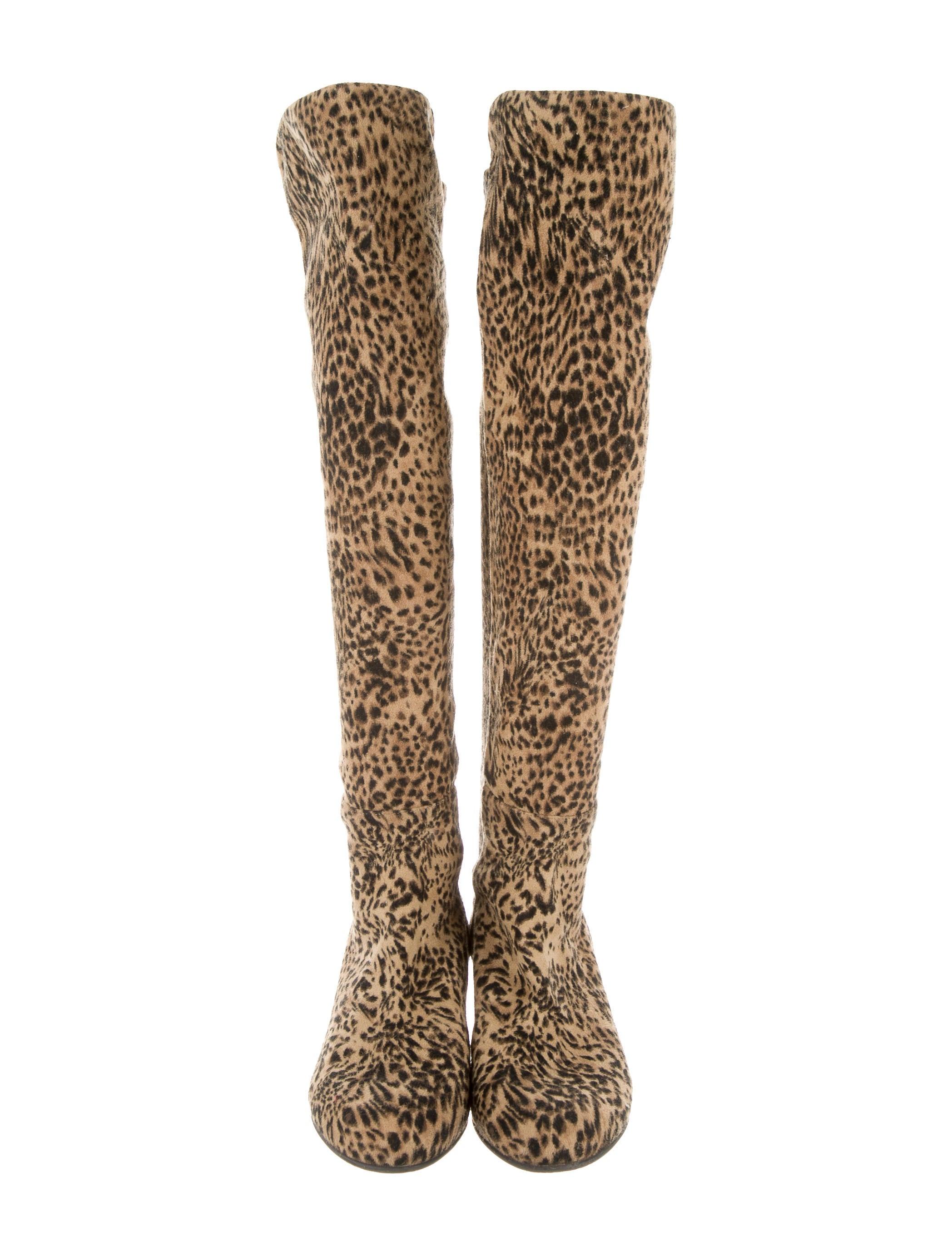 stuart weitzman suede leopard boots shoes wsu23963