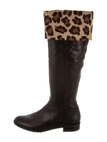 stuart weitzman leopard print knee high boots shoes