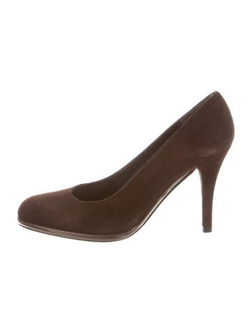 Stuart Weitzman Suede Round-Toe Pumps None