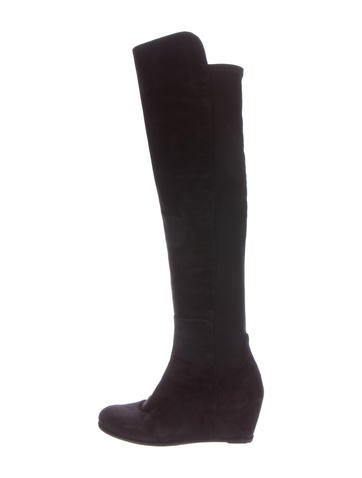 Stuart Weitzman Suede Knee-High Wedge Boots None