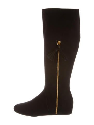 Stuart Weitzman Suede Knee-High Wedge Boots w/ Tags