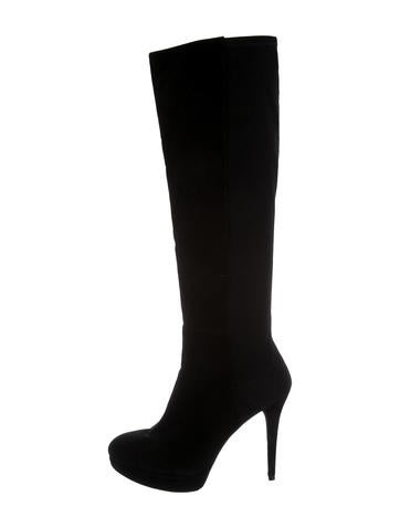 Stuart Weitzman Suede Platform Knee-High Boots None