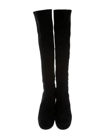 Suede Platform Knee-High Boots