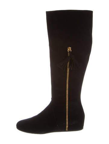 Stuart Weitzman Suede Knee-High Wedge Boots w/ Tags None