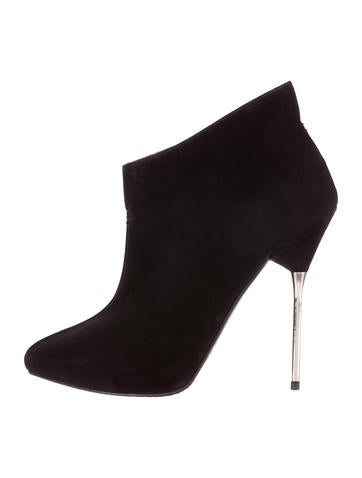 Stuart Weitzman Suede Semi Pointed Toe Ankle Boots