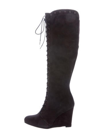 Stuart Weitzman Suede Lace-Up Boots None