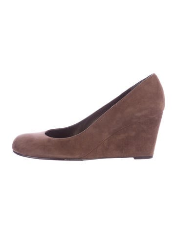 Stuart Weitzman Suede Wedge Pumps None