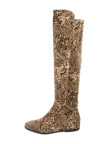 Stuart Weitzman Leopard Print Knee-High Boots None