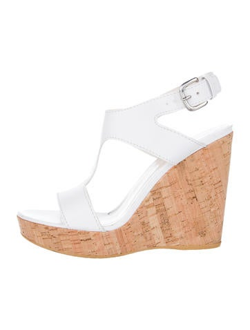 Leather T-Strap Wedges