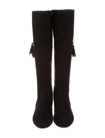 Suede Knee-High Wedge Boots w/ Tags