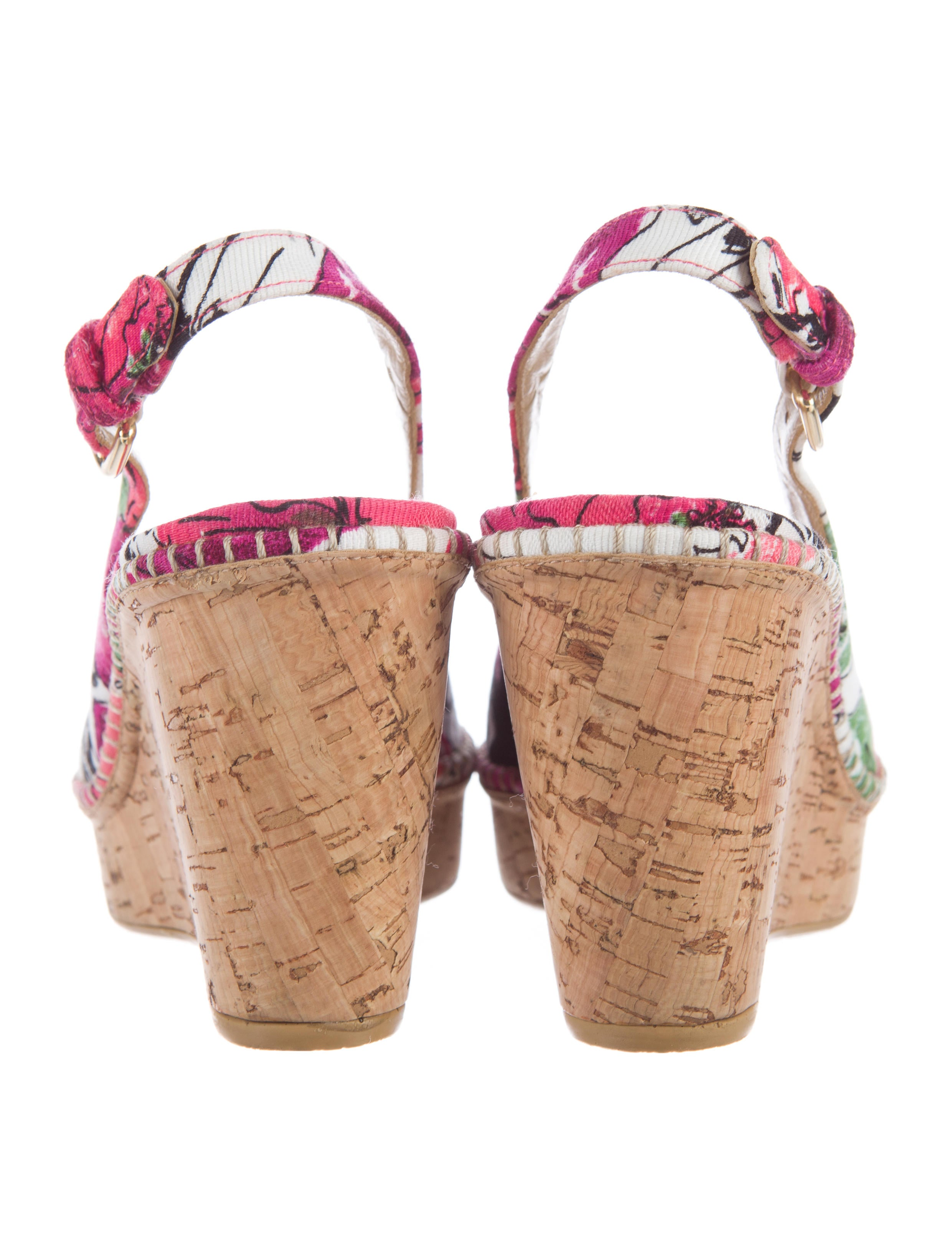 Stuart Weitzman Floral Print Wedge Sandals Shoes