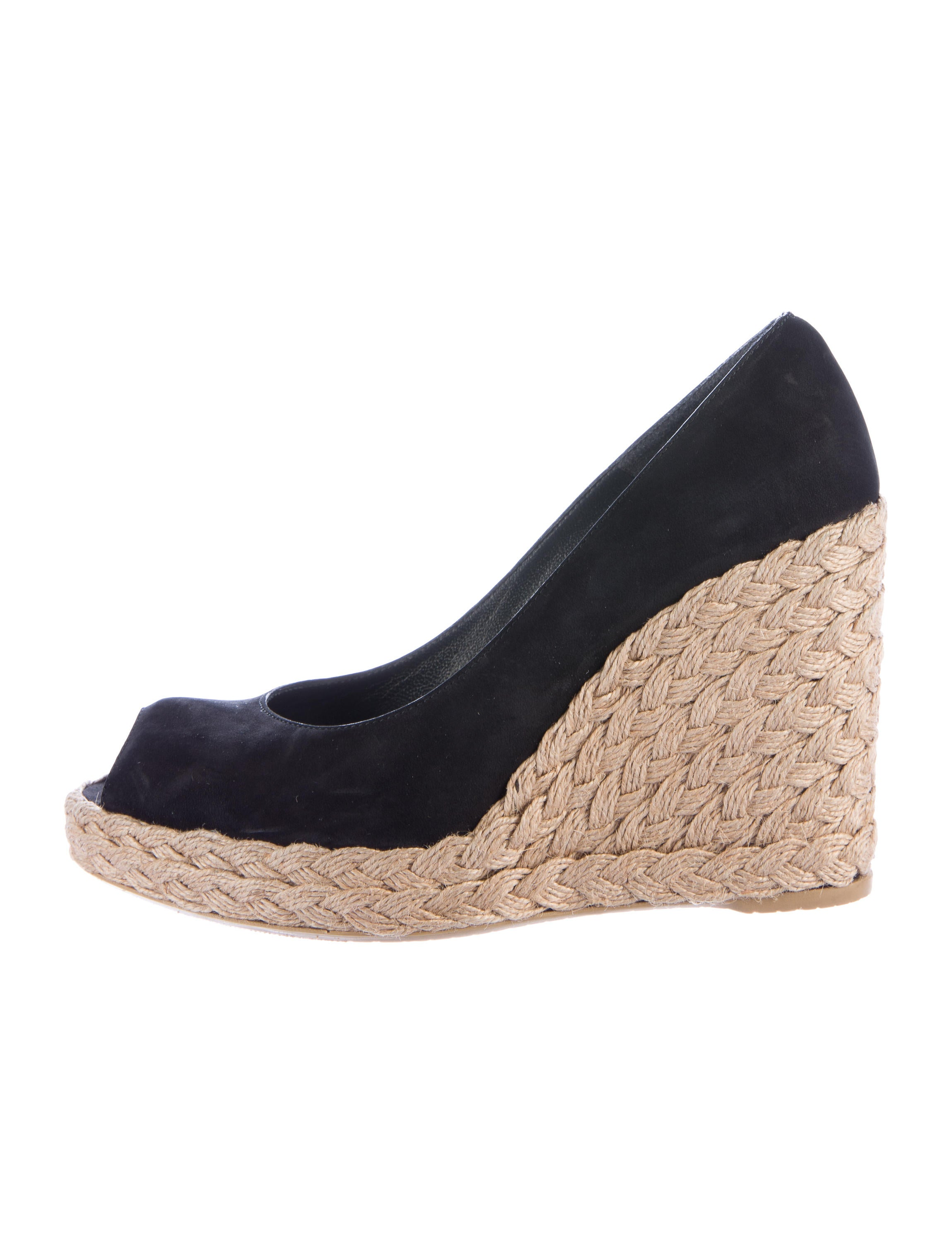 stuart weitzman peep toe espadrille wedges shoes