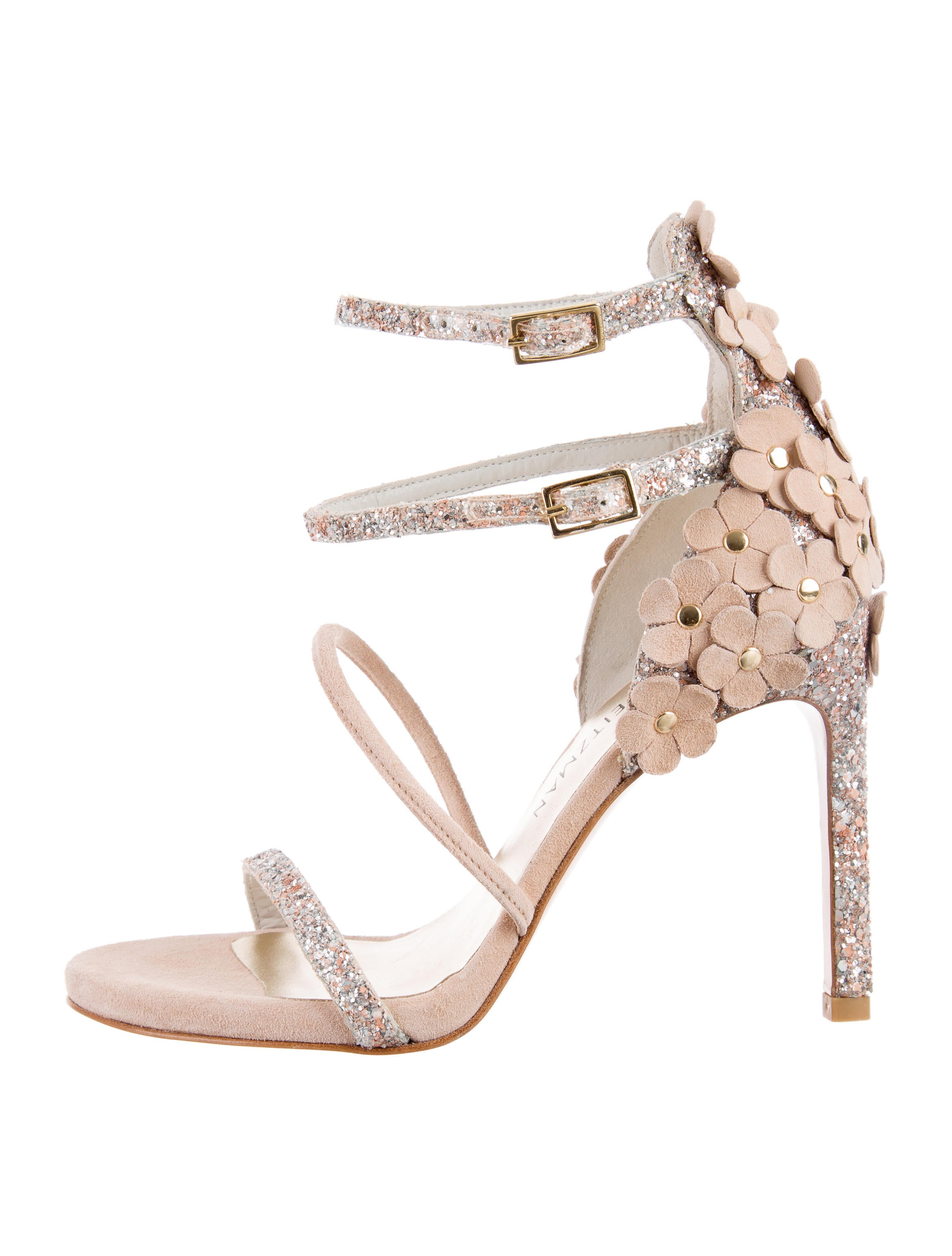 free shipping nicekicks Stuart Weitzman Floral-Embellished Slingback Sandals free shipping buy buy cheap authentic outlet best BWIh0