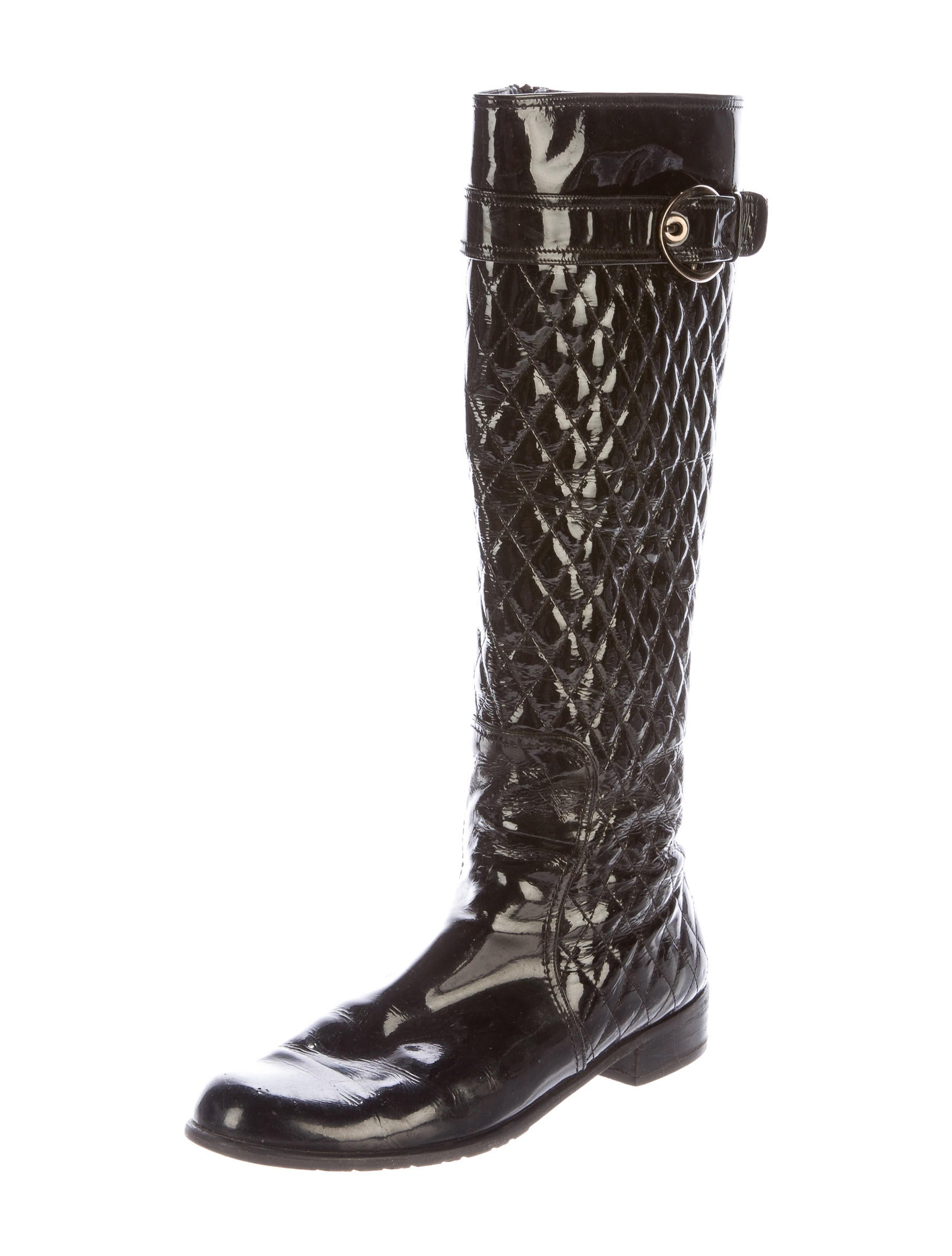 stuart weitzman quilted patent leather knee high boots