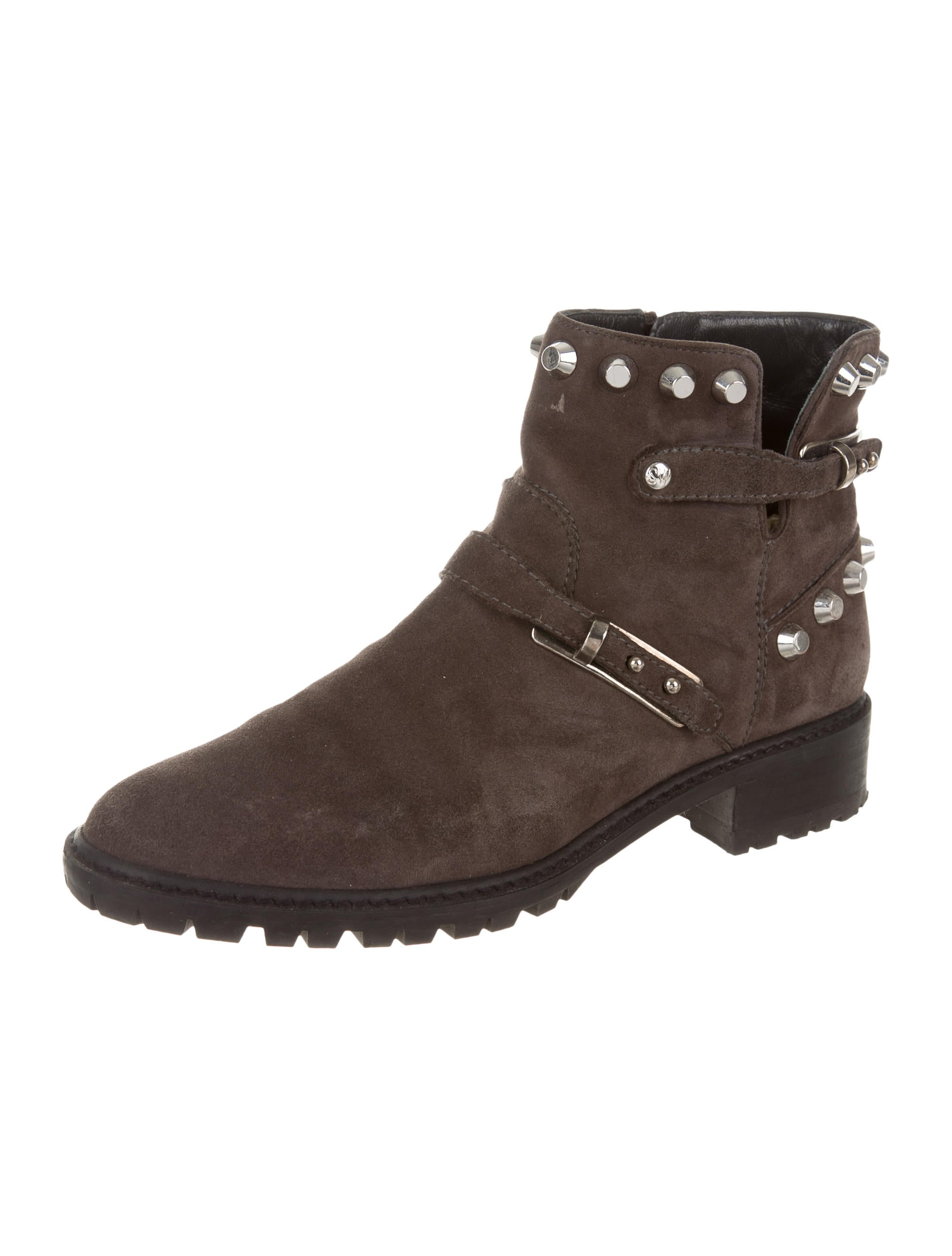 stuart weitzman studded suede ankle boots shoes