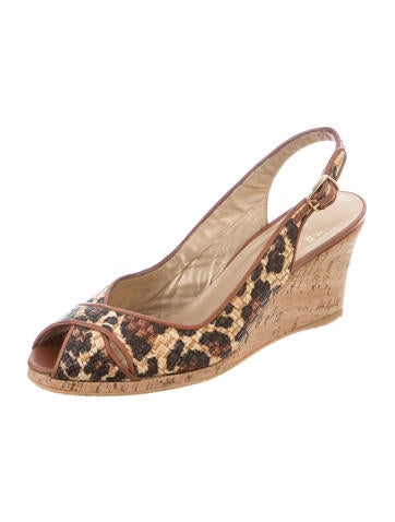 Stuart Weitzman Leopard Print Wedge Sandals Shoes