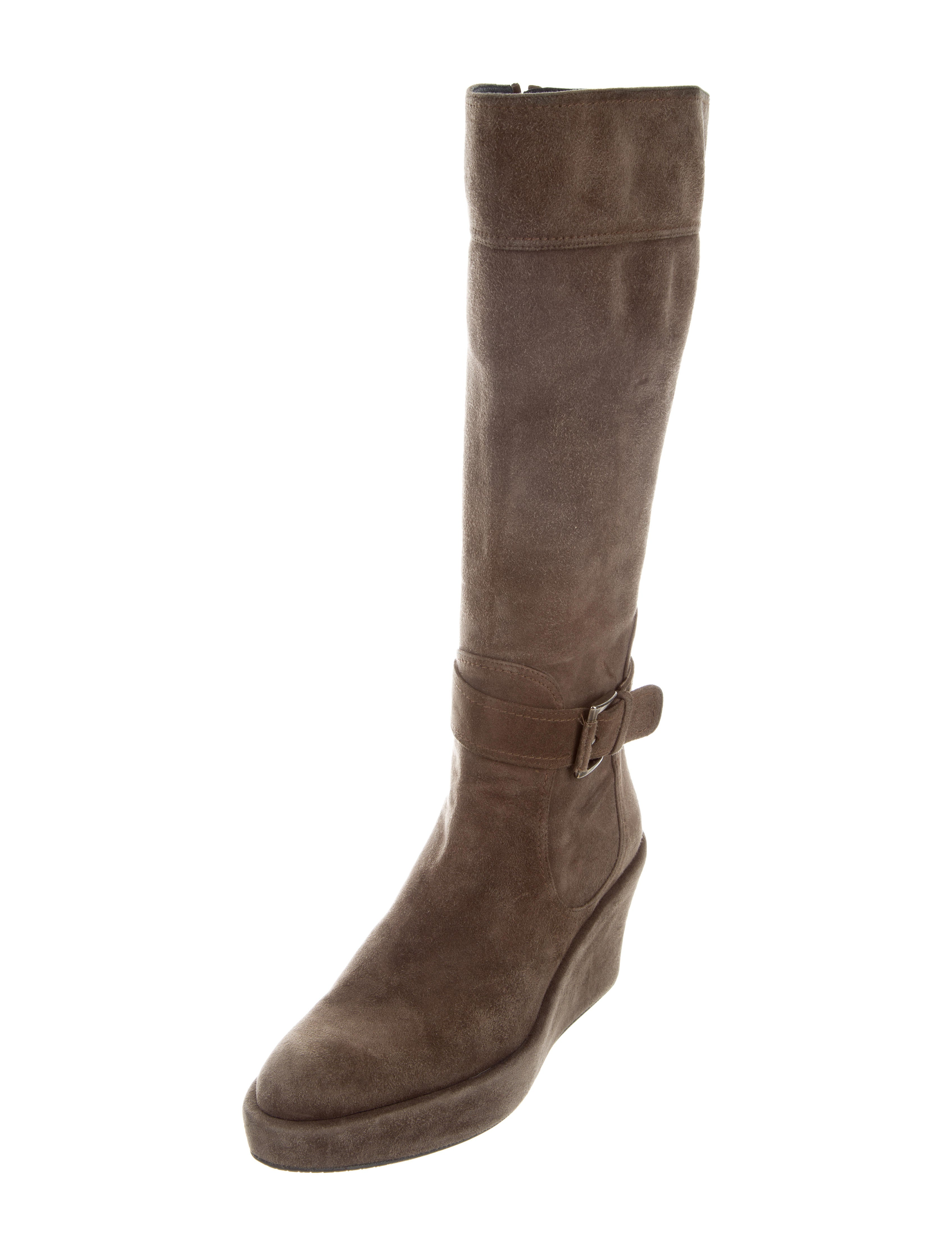 stuart weitzman suede knee high wedge boots shoes