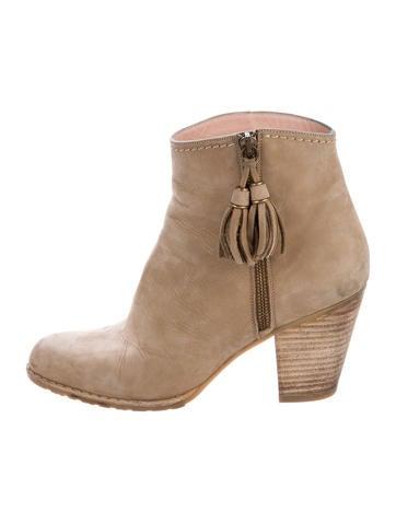 stuart weitzman suede tassel ankle boots shoes