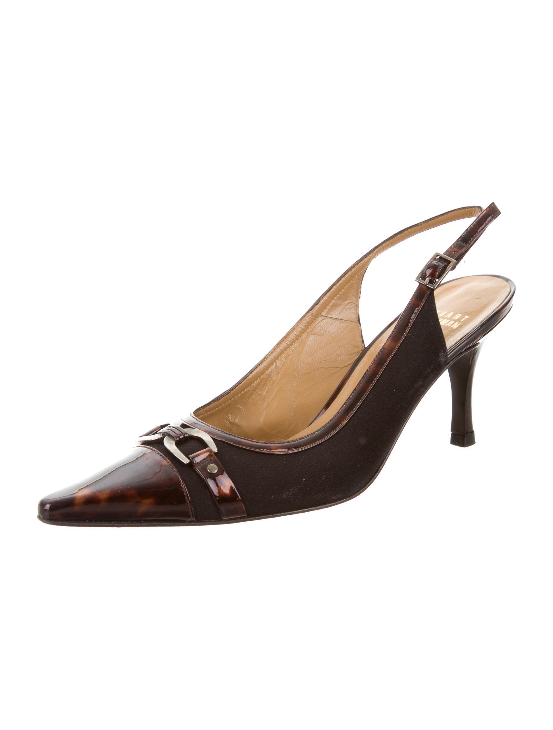 Stuart Weitzman Pointed-Toe Slingback Pumps - Shoes - WSU32480 | The RealReal
