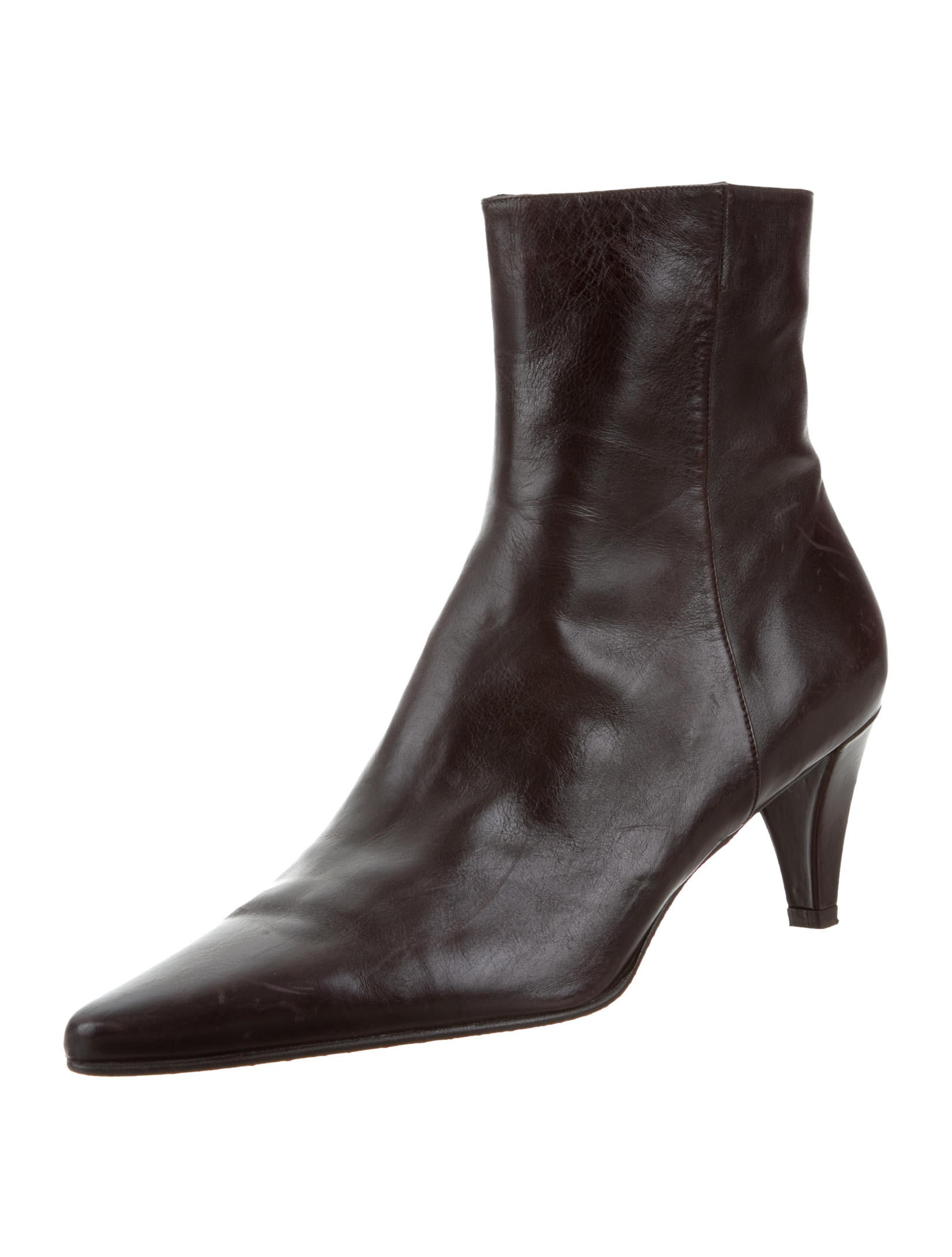 stuart weitzman leather pointed toe ankle boots shoes