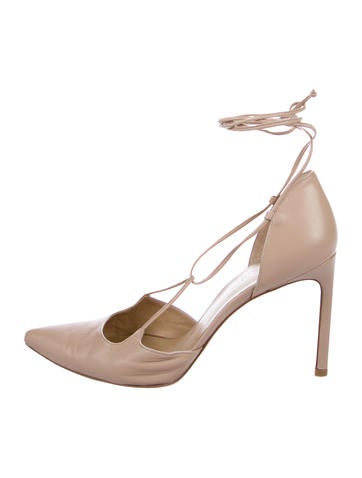 Stuart Weitzman Leather Pointed-Toe Lace-Up Pumps None