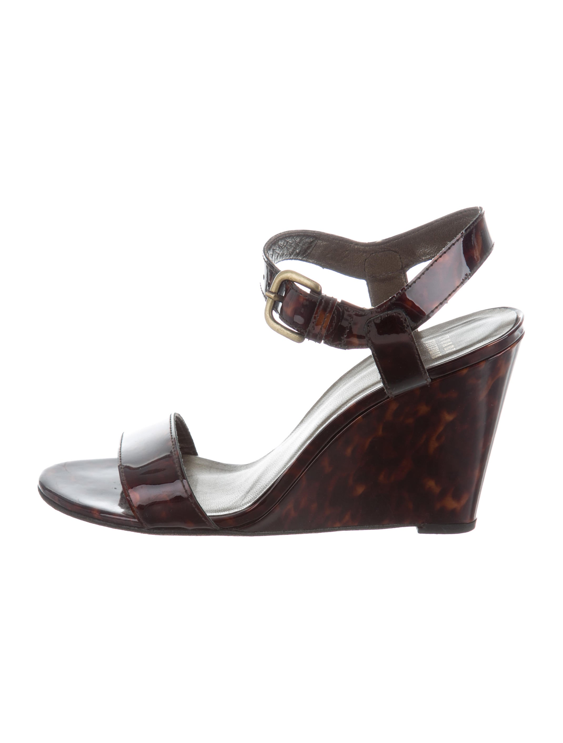 Stuart Weitzman Patent Leather Multi-Strap Wedges for cheap for sale free shipping with mastercard cheap sale new styles eOkJRResa