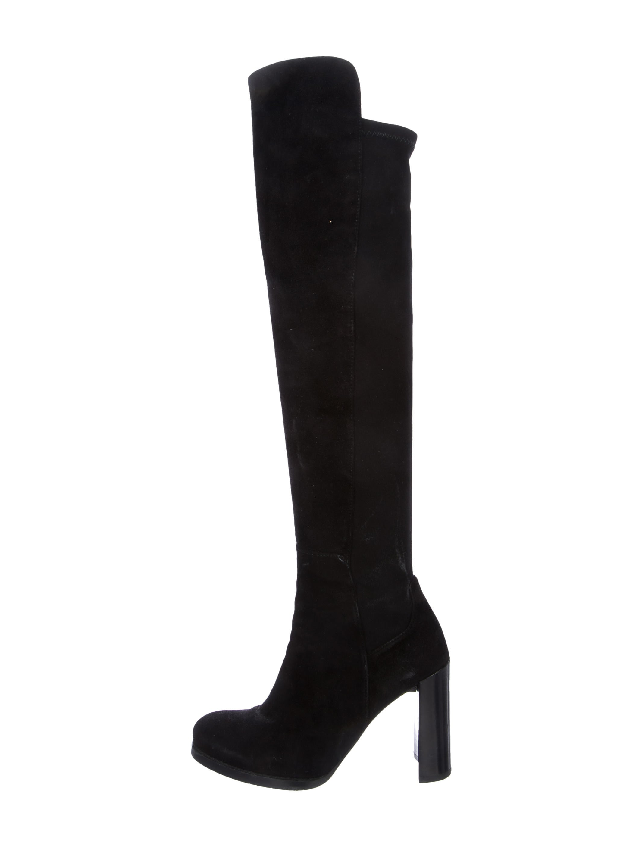 fake online Stuart Weitzman Leather Round-Toe Knee-High Boots browse for sale buy cheap marketable G4tVJa