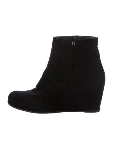 Stuart Weitzman Suede Wedge Ankle Boots None