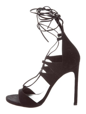 Stuart Weitzman Goosebump Lace-Up Sandals None