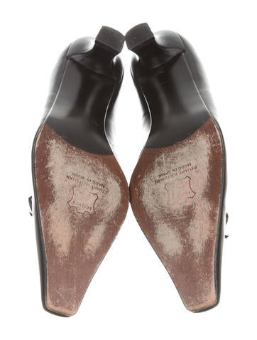 Leather Square-Toe Pumps