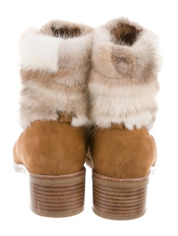 Fur Lace-Up Ankle Boots