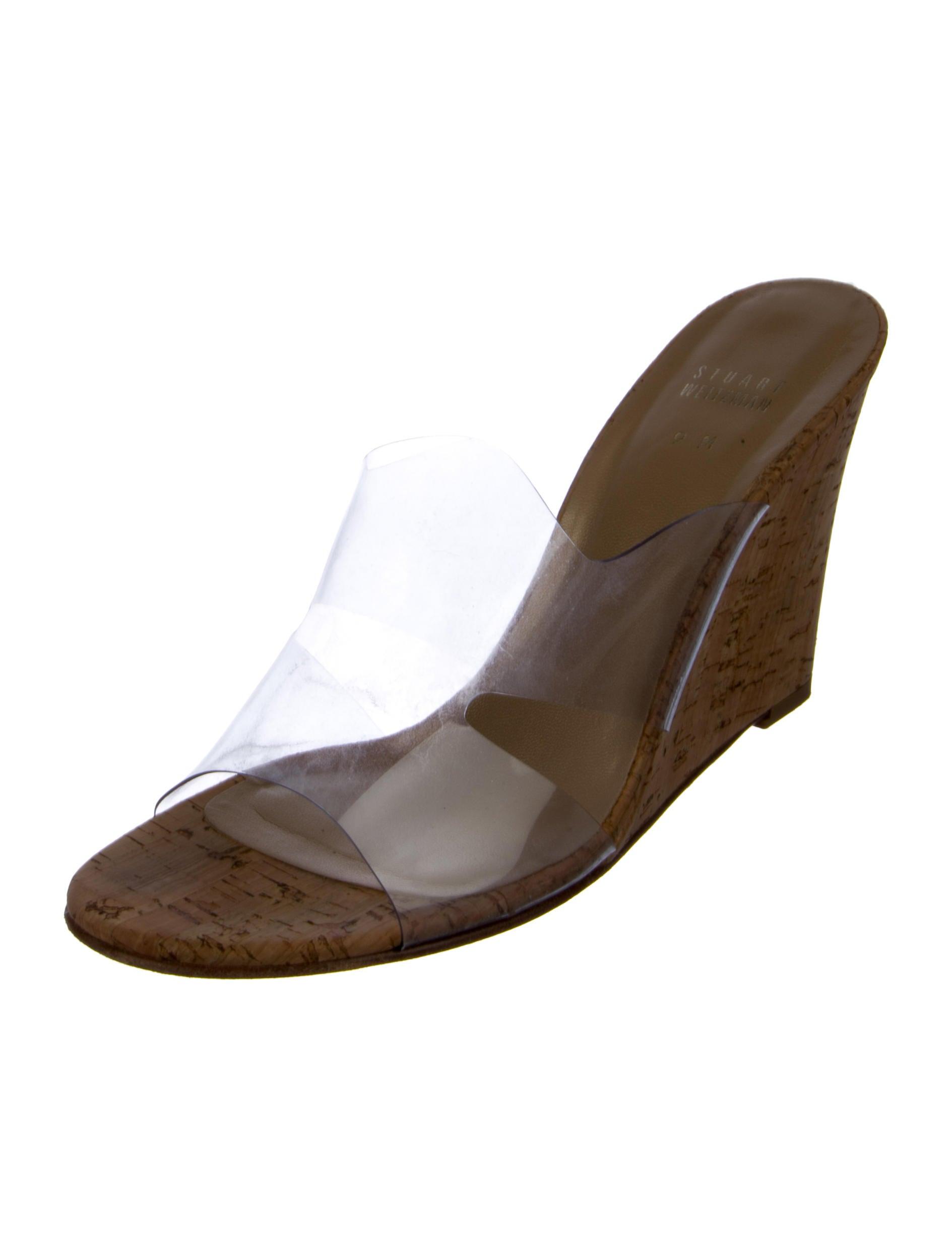 buy cheap price Stuart Weitzman Cutout PVC Wedge Sandals clearance cheap online discount popular nu3kAFc5jm