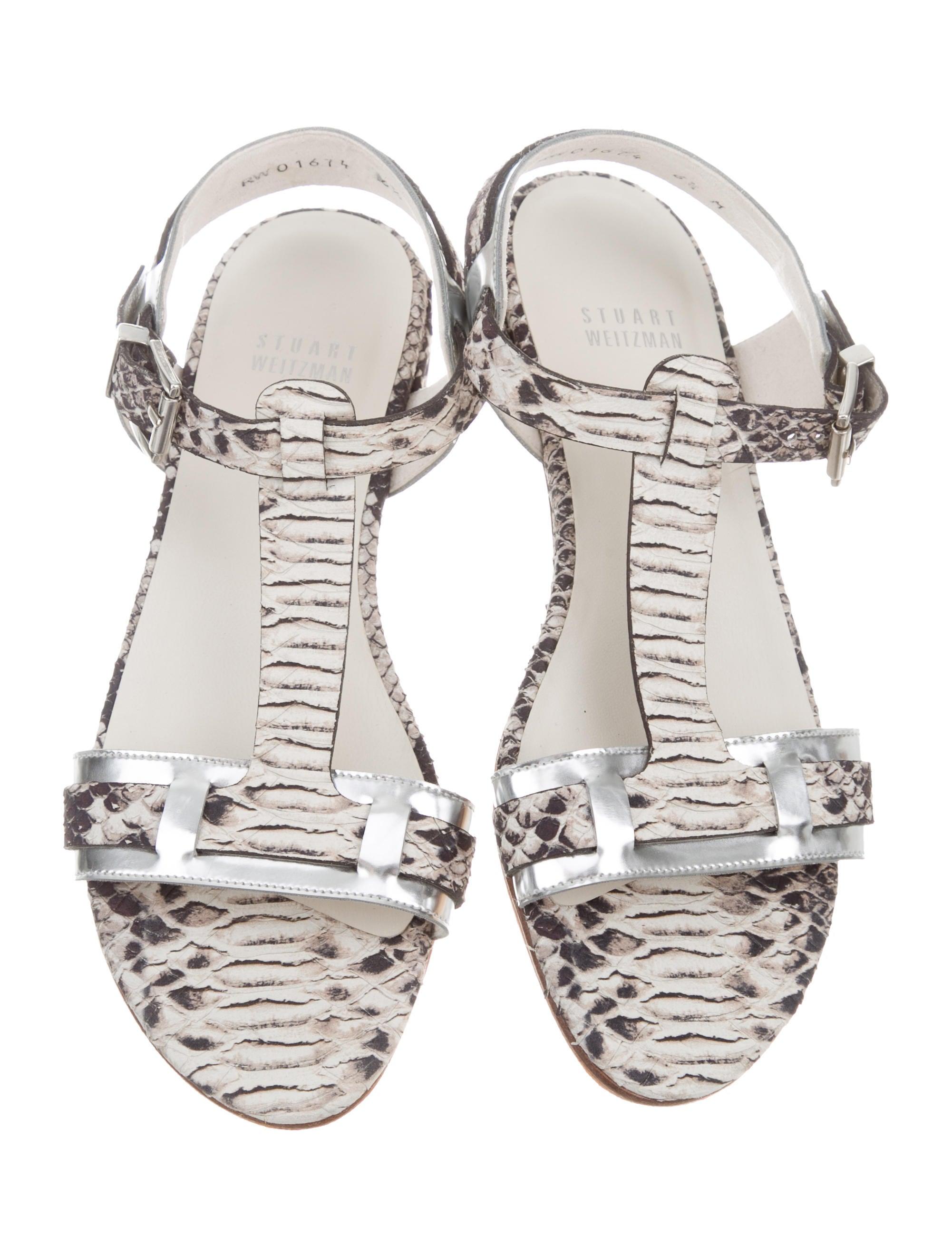 Stuart Weitzman Animal Print Metallic-Trimmed Sandals cheap buy authentic sale supply cheap outlet store s3Mum