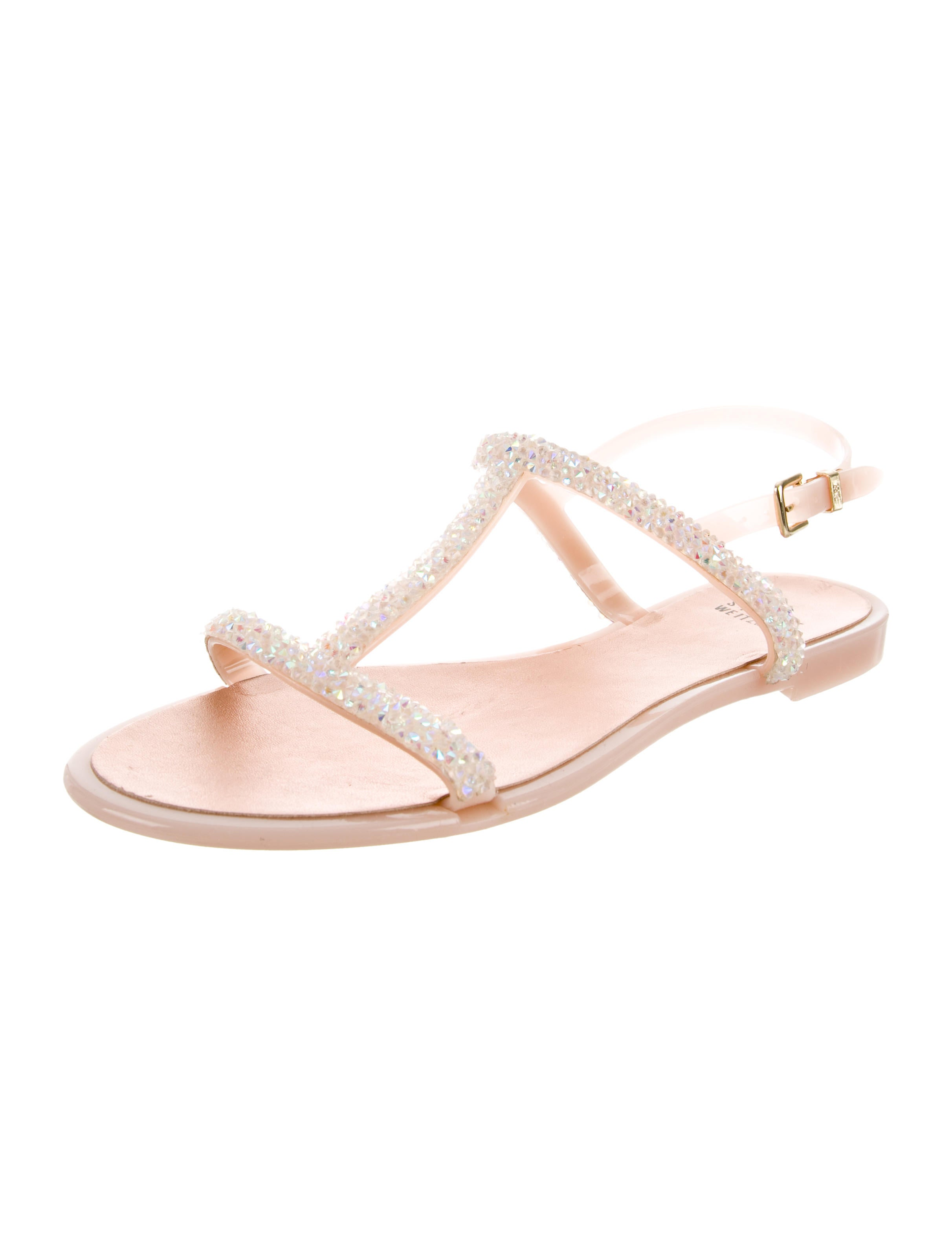 Stuart Weitzman Jewel-Embellished T-Strap Sandals buy cheap find great yiJhCJ