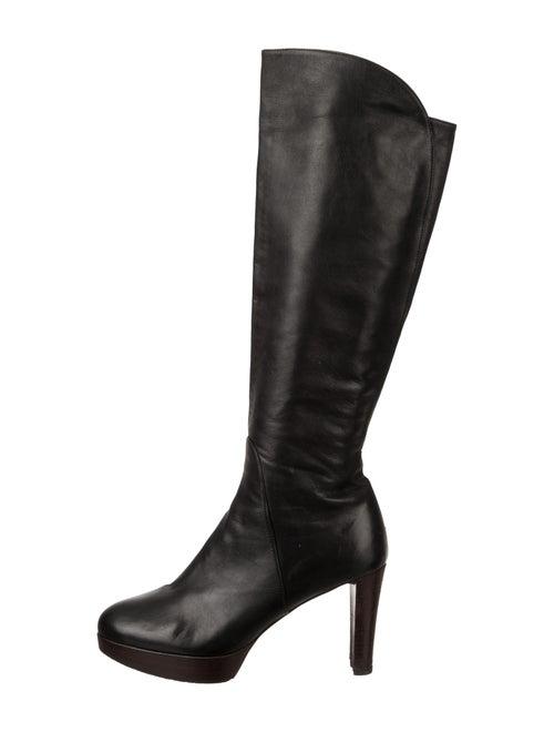 Stuart Weitzman Leather Platform Boots Black