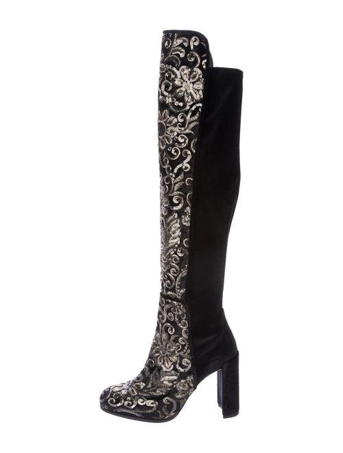 Stuart Weitzman Embroidered Velvet Boots Black