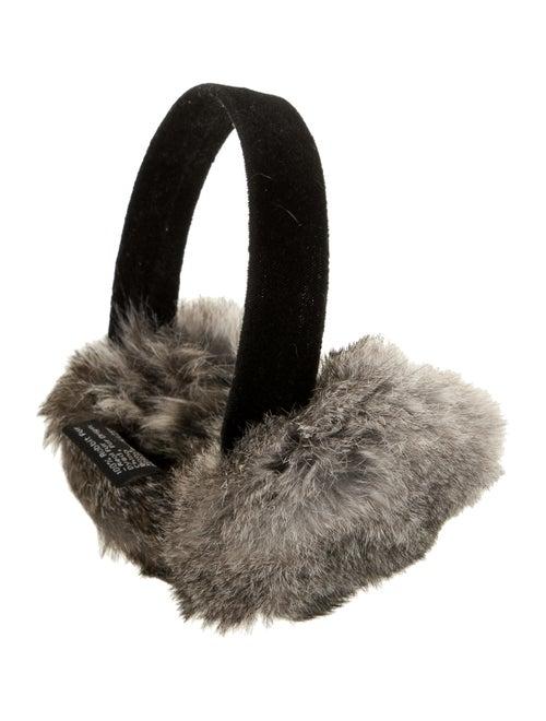 Surell Rabbit Fur-Trimmed Velvet Earmuffs Black