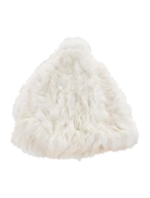Surell Knit Fur Beanie White
