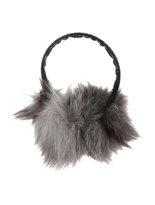 Surell Velvet Fur-Trimmed Earmuffs Black