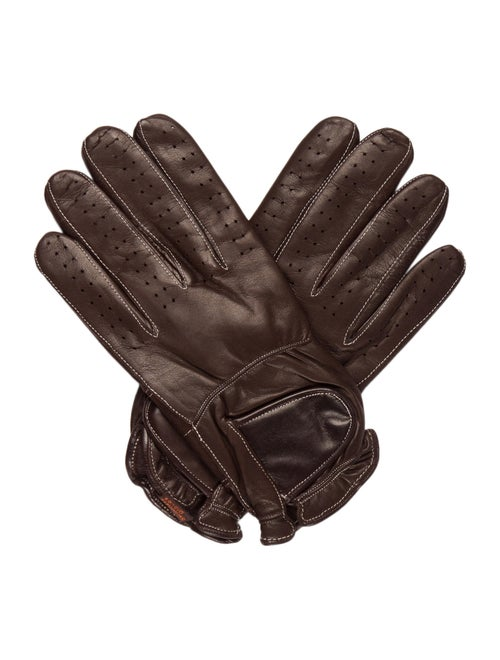 Sermoneta Gloves Leather Cashmere-Trimmed Gloves B