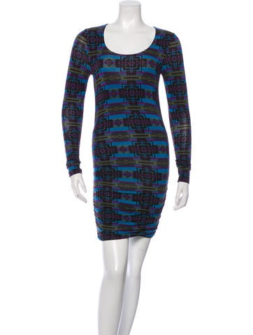 Torn by Ronny Kobo Long Sleeve Printed Dress None
