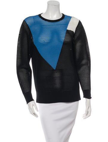 Torn by Ronny Kobo Tri-Color Open Knit Sweater None