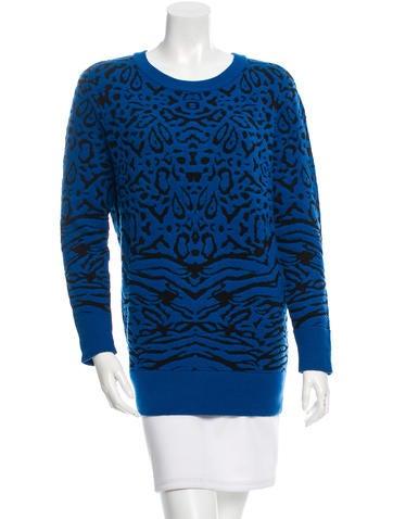 Torn by Ronny Kobo Zebra Pattern Crew Neck Sweater None