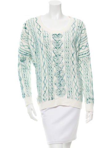 Torn by Ronny Kobo Cable Knit Sweater None
