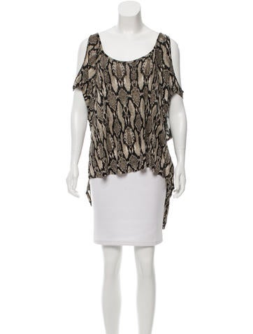 Torn by Ronny Kobo Snakeskin Print Cutout-Shoulder Top