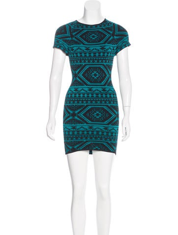 Torn by Ronny Kobo Patterned Mini Dress None