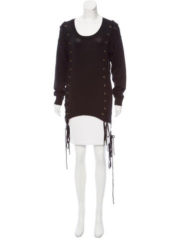 Torn by Ronny Kobo Lace-Up Wool Sweater None